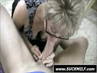Blonde MILF give this dude with a big cock and nice POV blowjob