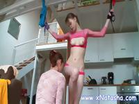 Tied up teen gets stripped by mistress and gets her tits sucked