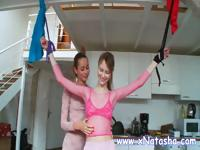 Gorgeous russian mistress play with her young slave