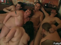 Hot group action with skinny dudes and big women