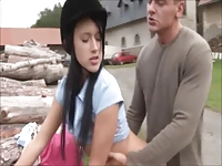 rider gets fucked outside
